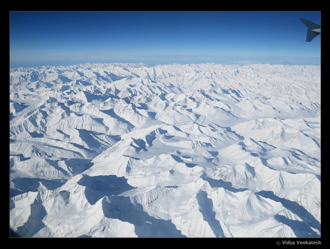 View of the Himalayas from the aircraft